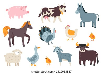 Vector set of farm animals: cow, horse, pig, bull, donkey, turkey, chicken, sheep, goose, goat. Cute collection of cartoon characters. Isolated on white.