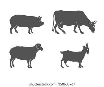 vector set of farm animals  cow, sheep, goat, pig