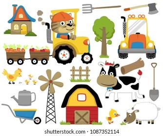 Vector set of farm field, farm equipment, farm animals cartoon