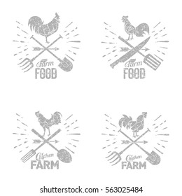 Vector set farm logo with a rooster and a farmer's tools. Vector illustration in grunge style. Web banners, advertisements, brochures, business templates. Isolated on a white background.