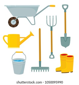 Vector set of farmer element in cartoon style isolated on white. Farming stuff - rake, basket, cart, boots, watering can, bucket can be used for magazine, book, poster, card.
