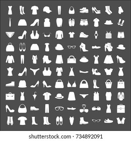 Vector Set of Fashion collection of wardrobe. Various clothing