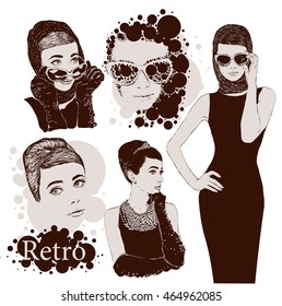 Vector set : fashion  ladies look in little black dress in 50s style