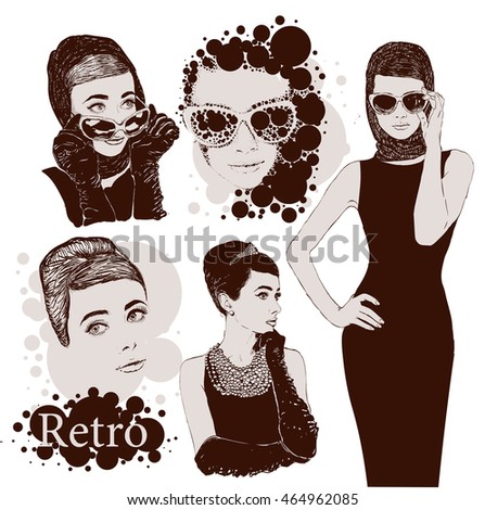 Vector set fashion ladies