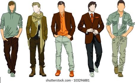 Vector set of fashion men