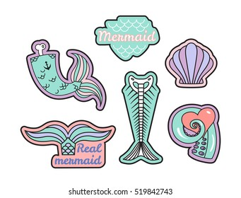 Vector set of fashion patches or badges isolated on white. Mermaids theme: tail, skeleton, shell and tentacle.