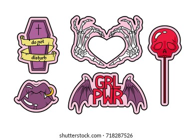Vector set of fashion patches, badges or stickers. Halloween theme: coffin, skeleton, lips with fangs and skull shaped lollipop.