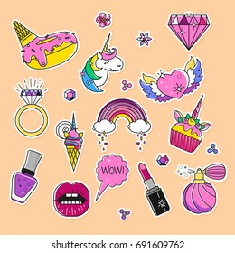 Vector set of fashion patches, cute colorful badges, fun cartoon icons design. Flat outlined unicorn pins. Donut and ice cream. Mouth, lipstick and speech bubble patch. Cupcake, diamond, wow stickers