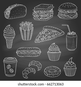 Vector set of fast food hand drawn illustration, with burger, hot dog, sandwich, , soda can, pizza, French fries, ice cream, donut, coffee cup, taco, cupcakes, croissant, isolated on chalkboard.