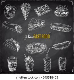 Vector set of fast food. Vector illustration in sketch style. Hand drawn design elements. Chalkboard