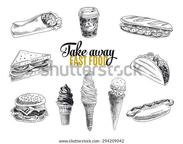Vector set of fast food. Vector illustration in sketch style. Hand drawn design elements.