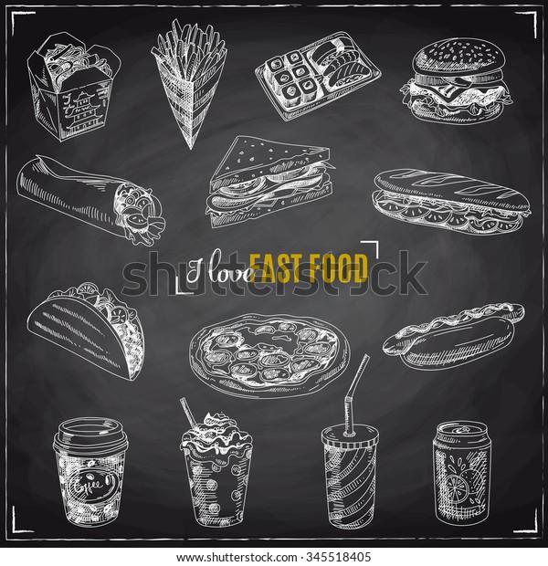 Vektorset von Fast Food. Vektorgrafik im Skizzenstil. Handgezeichnete Design-Elemente. Kopfbedeckung