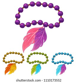 Vector set of feather bracelets with beads on thread in cartoon style. Isolated on white background