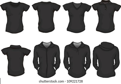 vector set of female shirts template in black, front and back designs, check out my portfolio for different t-shirt templates