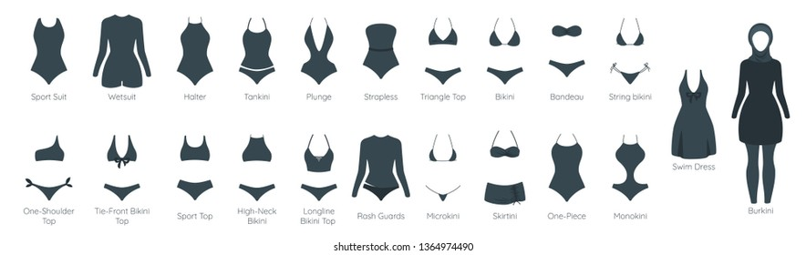 Vector set of female swimsuit black icons. Different types of beachwear silhouettes isolated on white background.