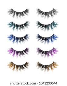 Vector set of feminine colored decorative false lashes on white background. Realistic fashion collection of long black eyelashes with gray, teal, blue, purple, orange part