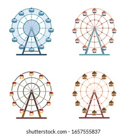 Vector set of ferris wheels. Flat style illustrations isolated on white background.