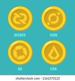 Vector set financial icon coin icon with crypto currency sign: Decred cryptocurrency; Icon (icx) coin; 0x (zrx) cryptocash; Lisk virtual money. Coins in a flat style.