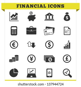 Vector set of financial and money related icons and design elements for web pages, bank, online trading and loan business services. Illustration on white background.