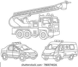 Vector set of a fire truck, an ambulance car and a police car, black and white illustrations