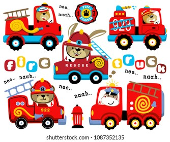 Vector set of firefighter cartoon with funny fireman