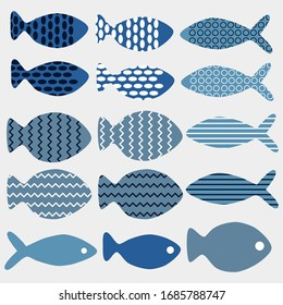 Vector set of fish in different abstract design
