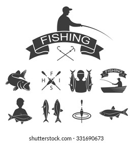 Vector set of fishing logo, emblem, label, icon and badges with fish. Fishing, boat, hook, ship. Isolated silhouette.