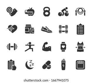 Vector set of fitness flat icons. Contains icons gym, nutrition, cardio exercises, sports supplements, yoga, sleep, workout and more. Pixel perfect.
