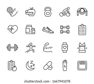 Vector set of fitness line icons. Contains icons gym, nutrition, cardio exercises, sports supplements, yoga, sleep, workout and more. Pixel perfect.