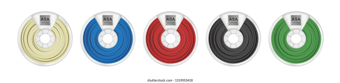 Vector set of five ASA filaments for 3D printing wounded on the spool. Plastic material Acrylonitrile styrene acrylate in several color variants – natural white, blue, red, black and green isolated.