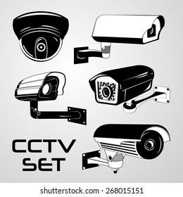 Vector Set: Five Black & White Security CCTV Cameras
