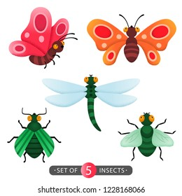 Vector set of five cartoon cute insects: fly, beetle, dragonfly, butterflies whith grainy texture.