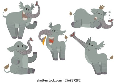 Vector set of five cartoon images of funny gray elephants with different actions and emotions on a white background. Zoo. Vector illustration.