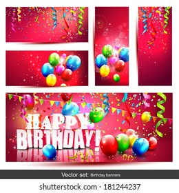 Vector set of five colorful birthday banners with confetti and balloons