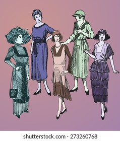 Vector set: Five hand drawn stylish women in retro looking clothes assuming pose