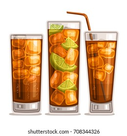 Vector set of fizzy Drinks: 3 glossy glasses with alcohol cocktail cuba libre, cubes of ice in highball with cola, sliced lime in long island iced tea, cold cocktail whisky cola with straw on white.
