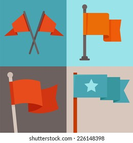 Vector set of flag design elements - flags and ribbons