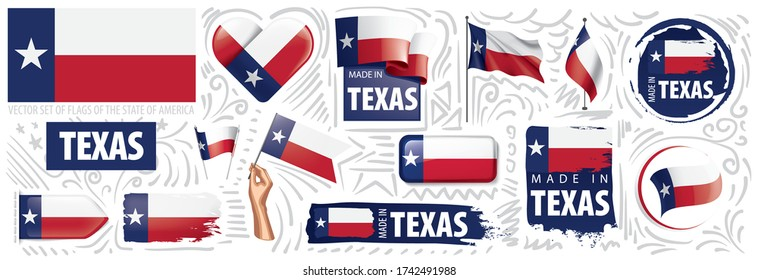 Vector set of flags of the American state of Texas in different designs