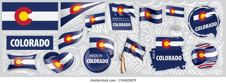 Vector set of flags of the American state of Colorado in different designs