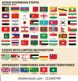 Vector set of Flags of Asian sovereign states (September 2012) Including Abkhazia, Nagorno-Karabakh, Northern�Cyprus, Palestine, South Ossetia, Taiwan...