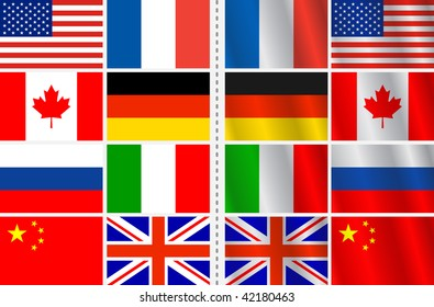 Vector set of flags with a variation