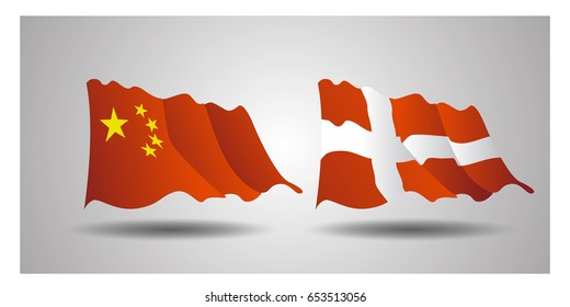 Vector set of Flags of world  National flag China, Switzerland