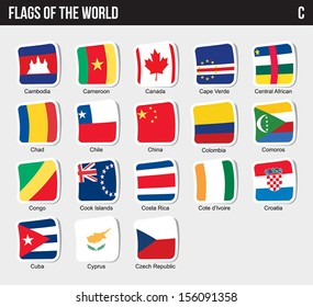 Vector set of Flags world sorted alphabetically. (C)