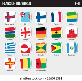 Vector set of Flags world sorted alphabetically. (F-G)
