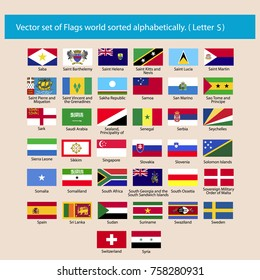 Vector set of Flags world sorted alphabetically. Letter S