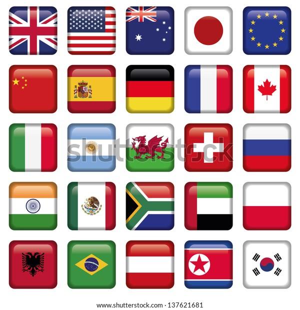 Vektorset Flaggen Weltspitze-Staaten