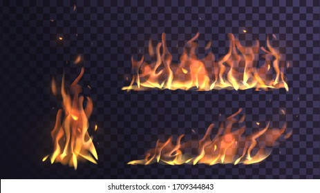Vector set flame and bonfire on a transparent background, orange fire
