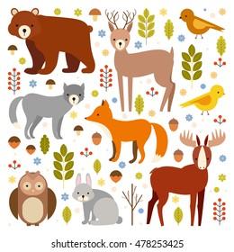 vector set of flat animals. forest dwellers. wolf, fox, deer, elk, bear, rabbit, owl, bird. on an isolated background. zoo cartoon set. plants, berries, mushrooms, fruit