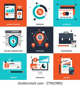 Vector set of flat banking and finance icons on following themes - online control, revenue, account, secure transactions, affiliate, management, cheque, statistics, budget