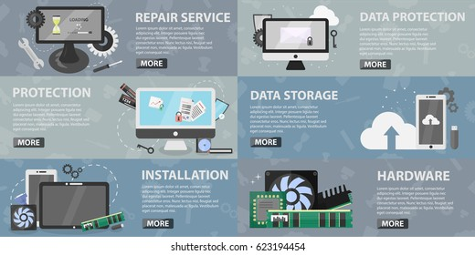 Vector set of flat banners of computer market for websites. Concept of repair, data protection and installation hardware. Collection of electronics elements and equipment in flat design.